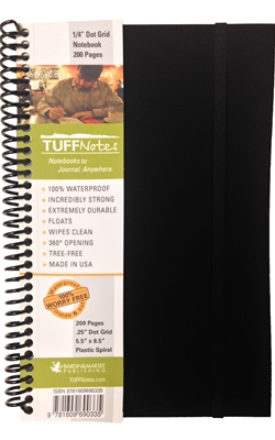 TUFFNotes waterproof spiral notebook - Black Dot Grid